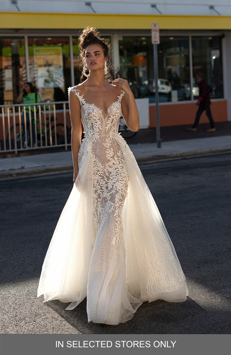 BERTA Embroidered Lace Tulle Trumpet Wedding Dress, Main, color, 900