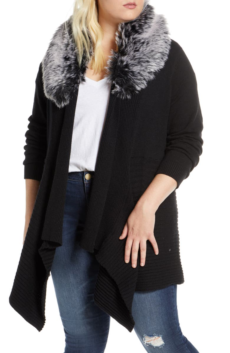 SINGLE THREAD Open Front Cardigan with Faux Fur Collar, Main, color, 001