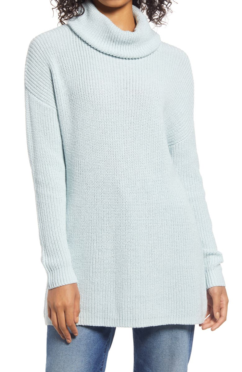 HALOGEN<SUP>®</SUP> Oversize Turtleneck Tunic Sweater, Main, color, BLUE LACE