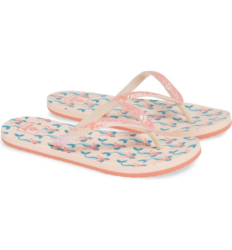 REEF Little Stargazer Print Flip Flop, Main, color, PINK MERMAID