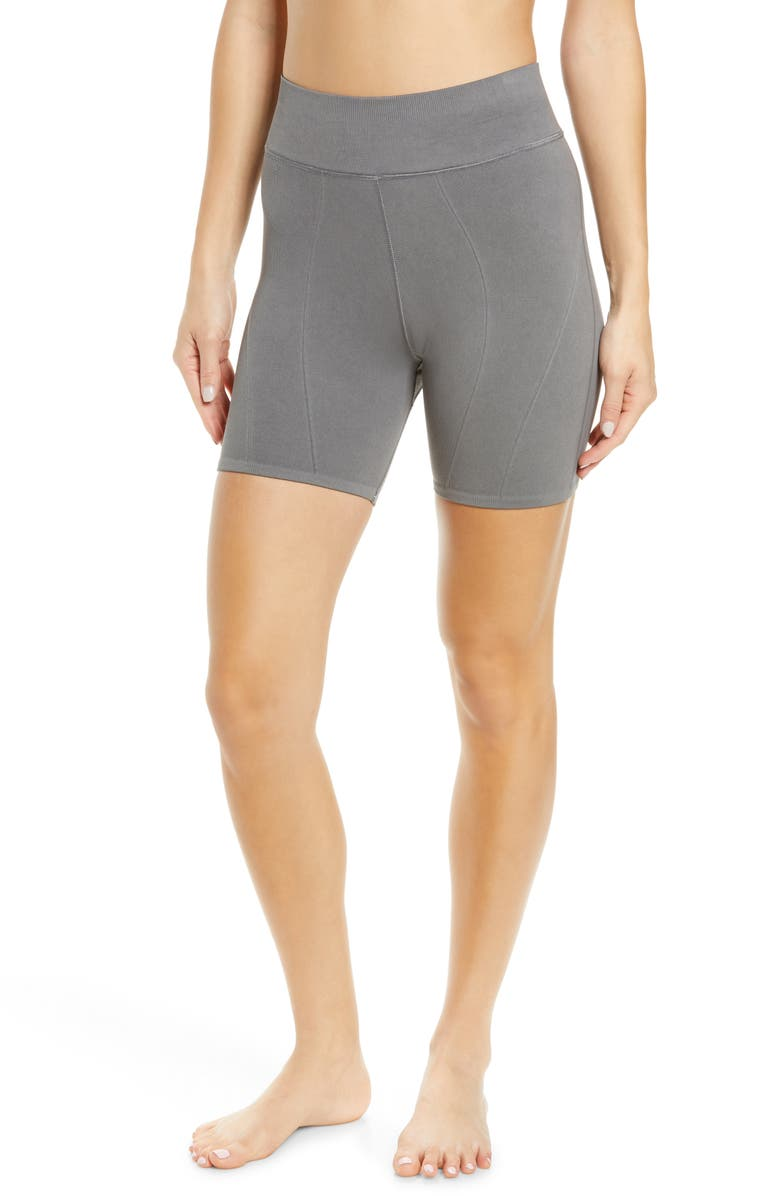 FREE PEOPLE FP MOVEMENT Let's Go Seamless Bike Shorts, Main, color, CHARCOAL