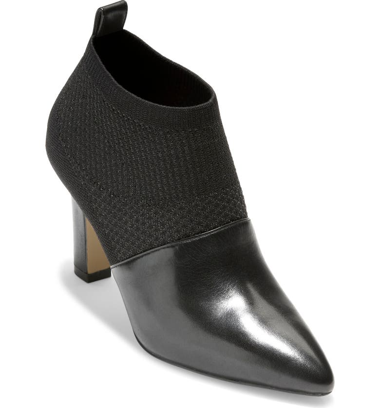 COLE HAAN Vannie Pointed Toe Bootie, Main, color, BLACK KNIT/ LEATHER