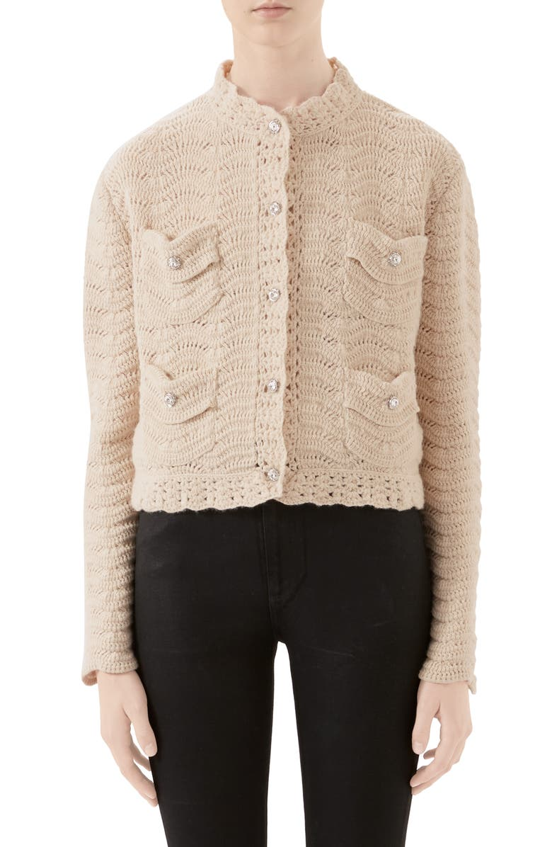 GUCCI Jewel Button Crochet Wool Sweater Jacket, Main, color, 900