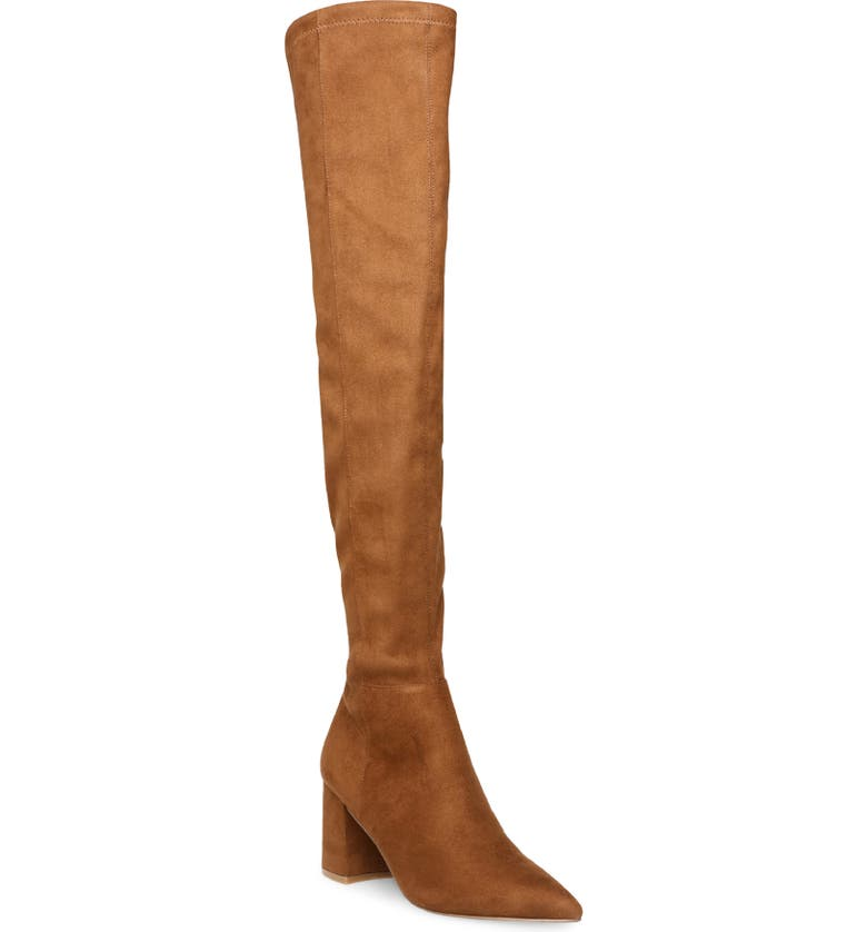 STEVE MADDEN Nifty Pointed Toe Over the Knee Boot, Main, color, COGNAC
