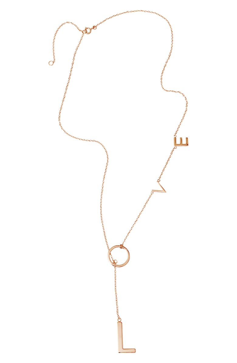 ADORNIA Love Lariat Necklace, Main, color, PINK/ GOLD
