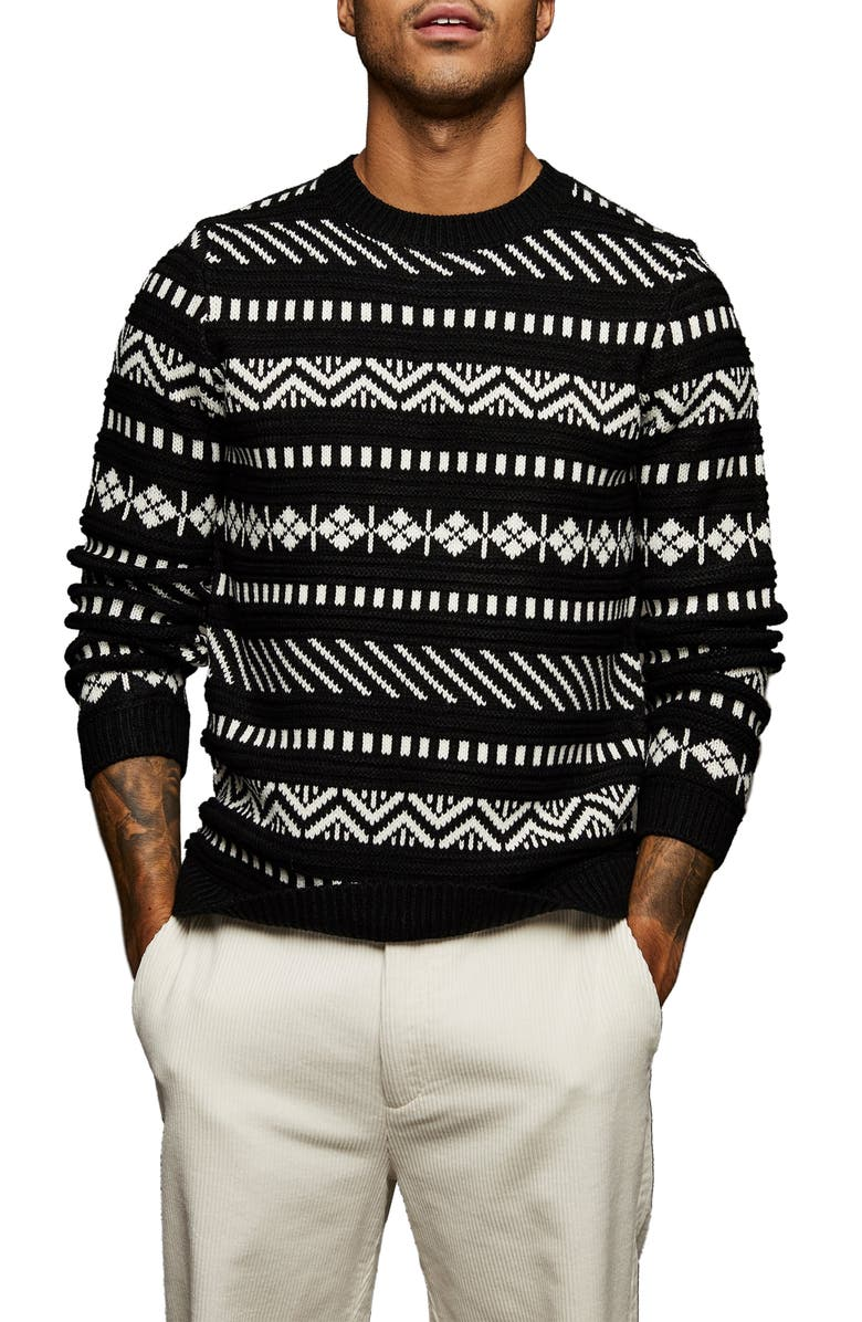TOPMAN Abstract Knit Sweater, Main, color, BLACK