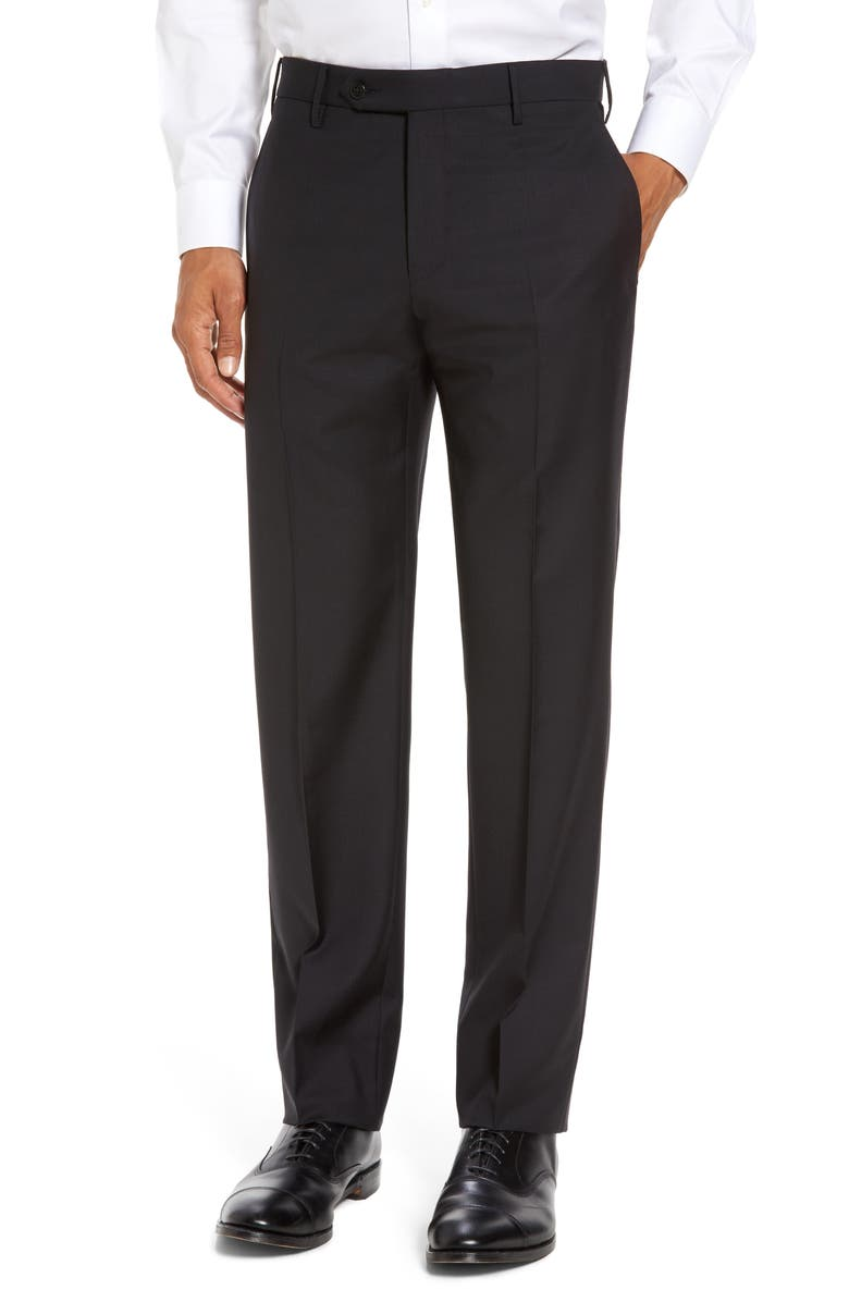 ZANELLA Parker Flat Front Sharkskin Wool Trousers, Main, color, BLACK