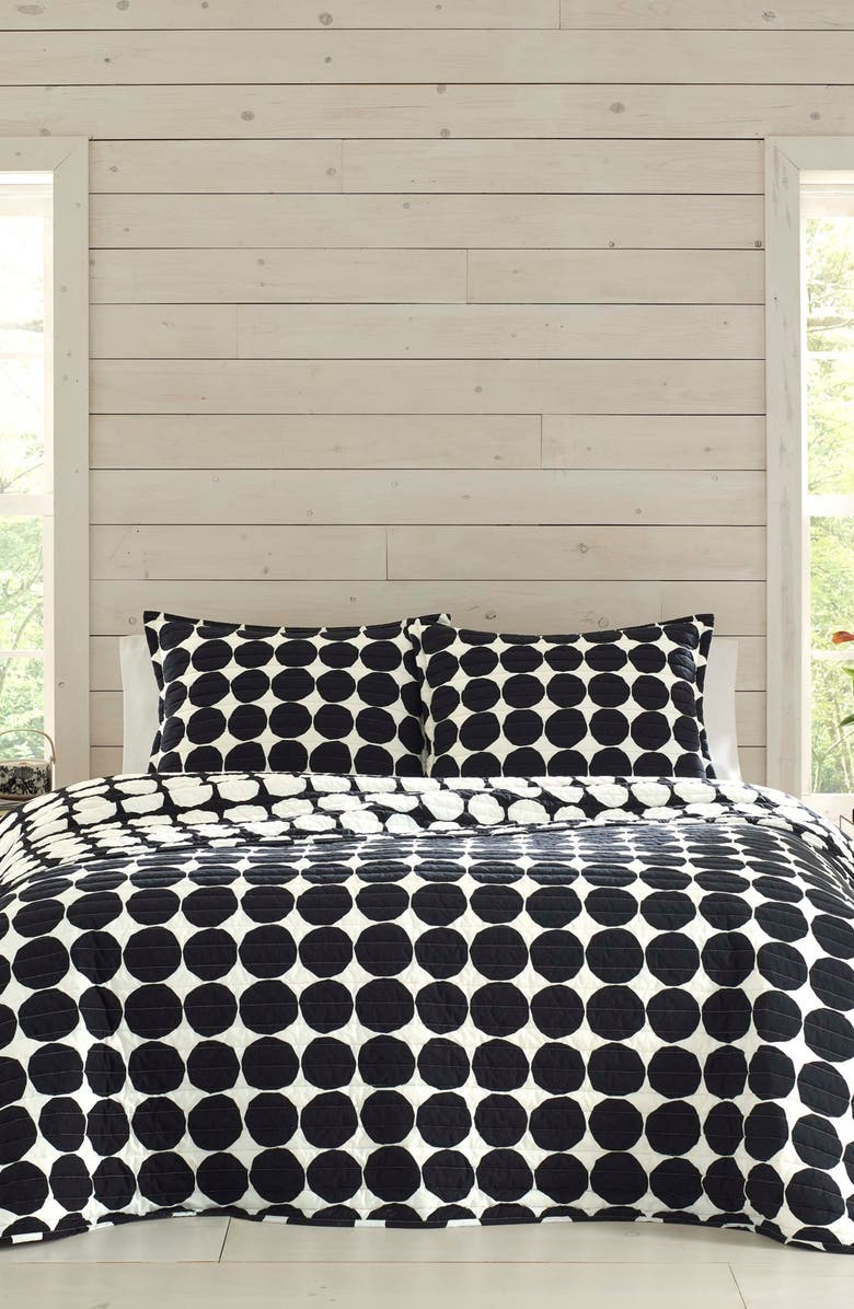 MARIMEKKO Pienet Kivet Quilt & Sham Set, Main, color, BLACK