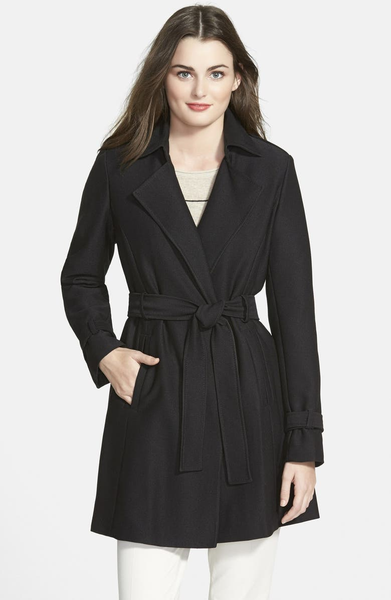 T TAHARI 'Daphine' Belted Trench Coat, Main, color, 001