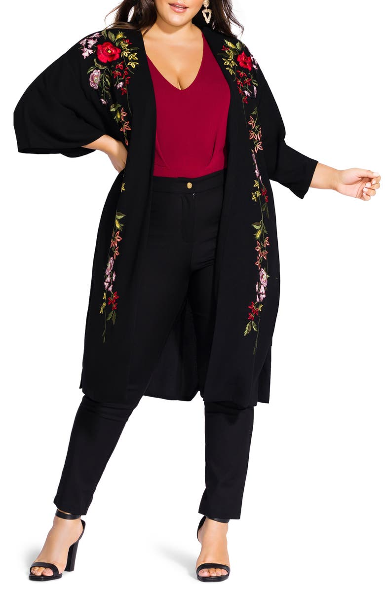 CITY CHIC Winter Zen Floral Embroidery Open Long Jacket, Main, color, 001