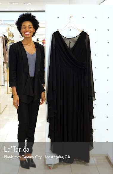Side Ruched Long Sleeve Chiffon Gown, sales video thumbnail