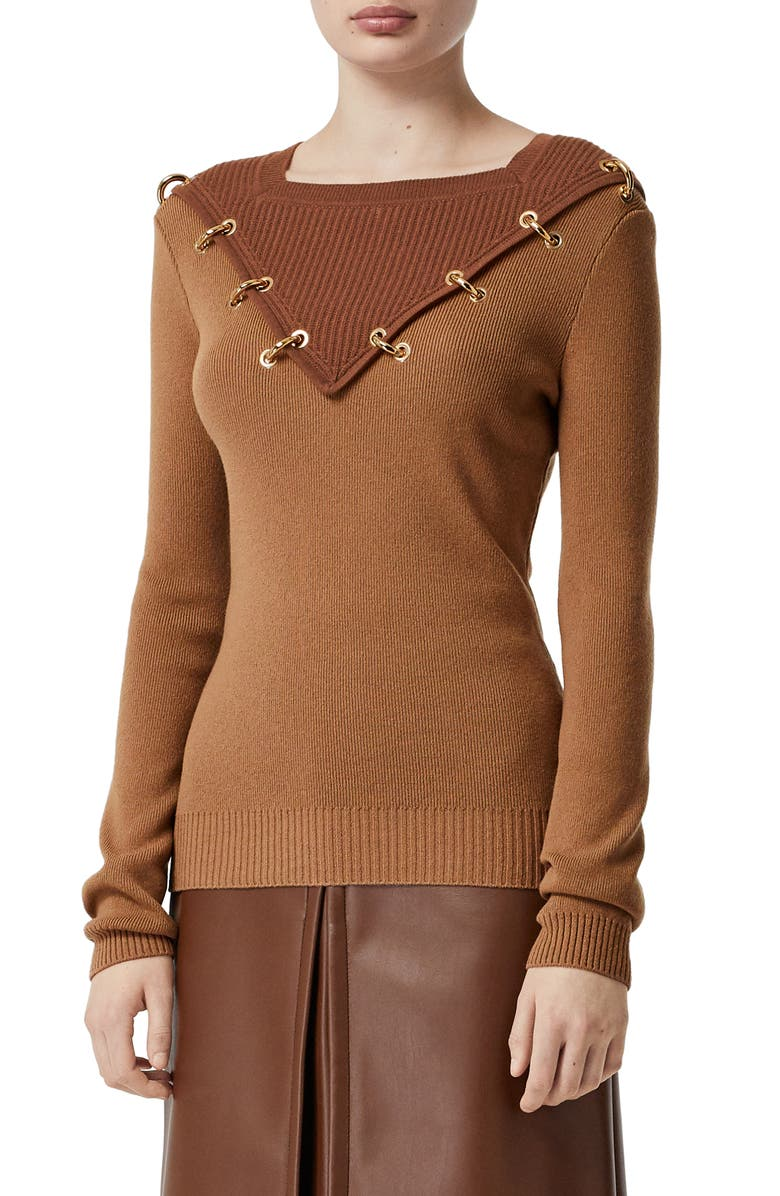 BURBERRY Contrast Neck Ring Detail Wool & Cashmere Sweater, Main, color, 200