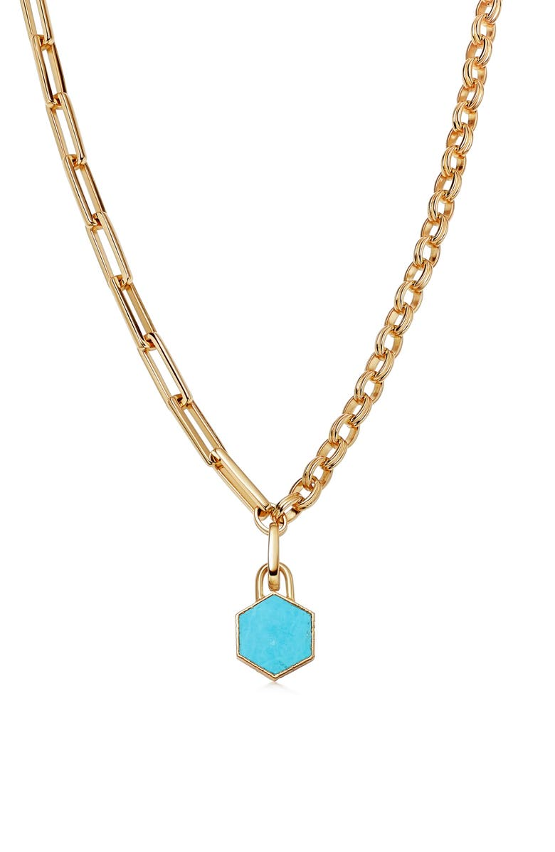 MISSOMA Imitation Turquoise Pendant Mixed Link Necklace, Main, color, Gold