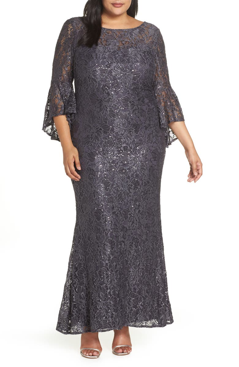 MORGAN & CO. Lace Bell Sleeve Gown, Main, color, 021