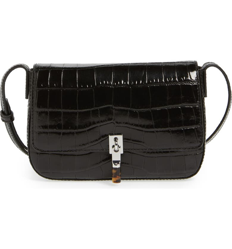 ELIZABETH AND JAMES Cynnie Flap Croc Embossed Crossbody Bag, Main, color, 001
