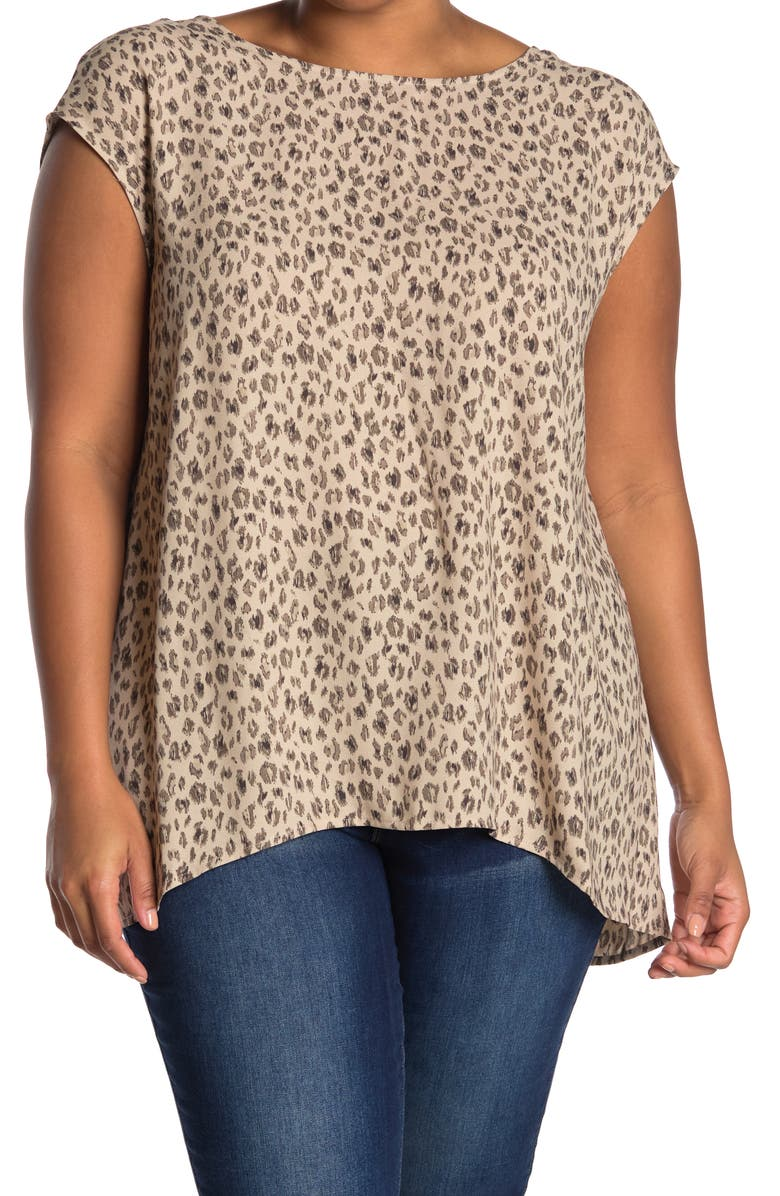 HALOGEN Open Back Woven Top, Main, color, TAUPE D ANIMAL SURFACE