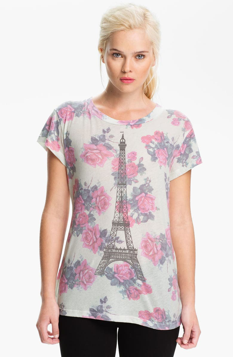 WILDFOX 'Tour Eiffel' Rose Print Graphic Tee, Main, color, DIRTY WHITE