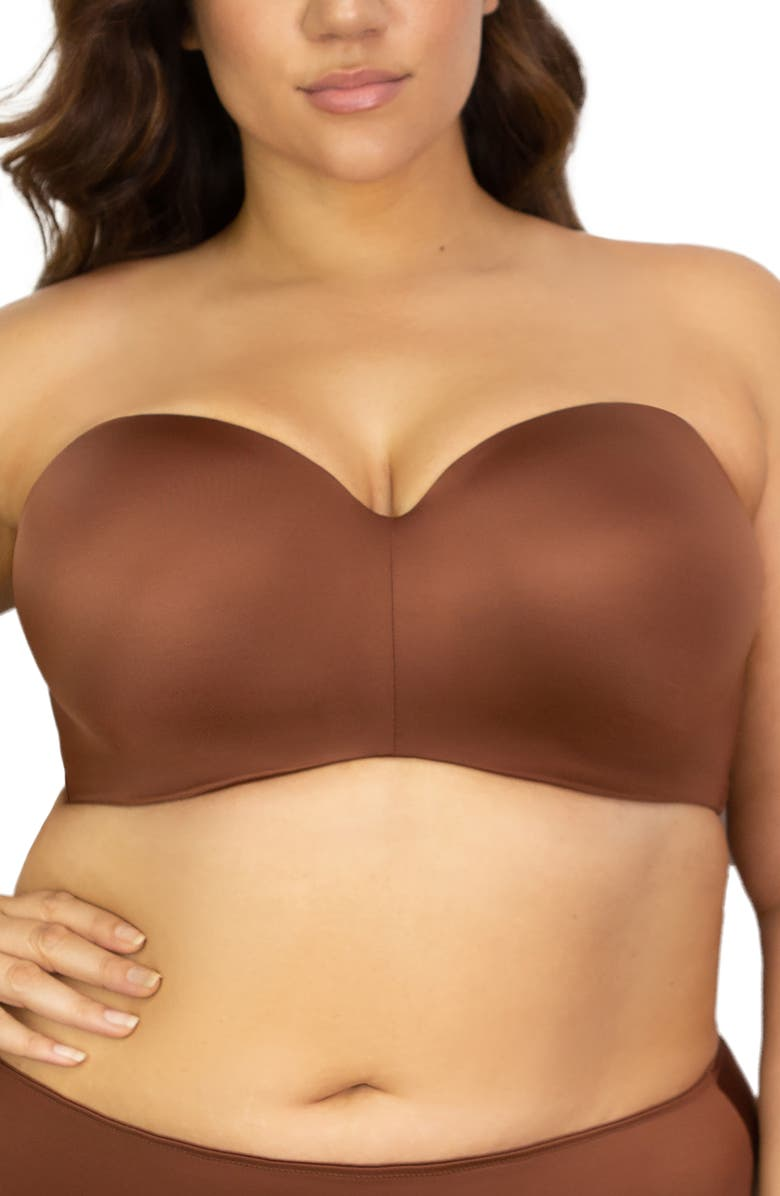 CURVY COUTURE Strapless Underwire Push-Up Bra, Main, color, CHOCOLAT