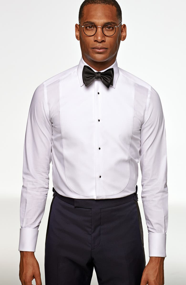 SUITSUPPLY Classic Fit Tuxedo Shirt, Main, color, WHITE
