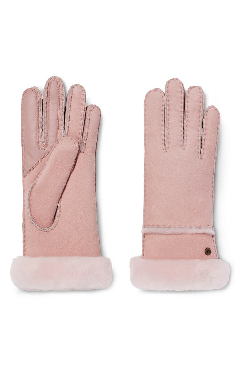UGG<SUP>®</SUP> Seamed Touchscreen Compatible Gloves with Genuine Shearling Trim, Main, color, 650