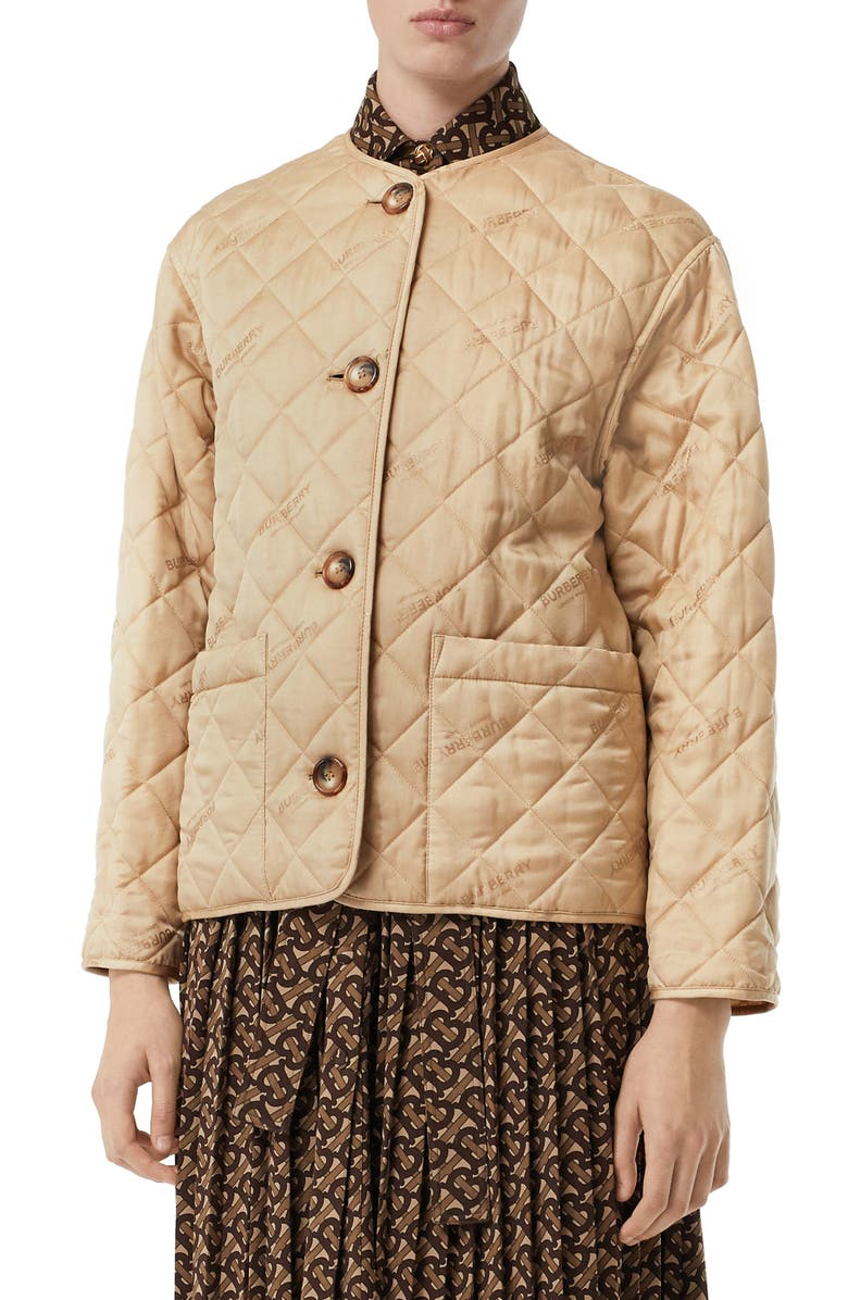 BURBERRY Bardsey Logo Jacquard Diamond Quilted Coat, Main, color, 250
