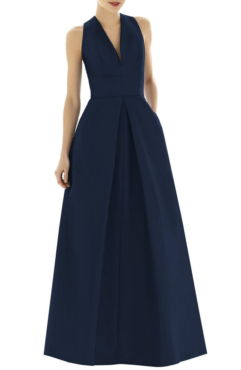ALFRED SUNG Dupioni Pleat A-Line Gown, Main, color, MIDNIGHT