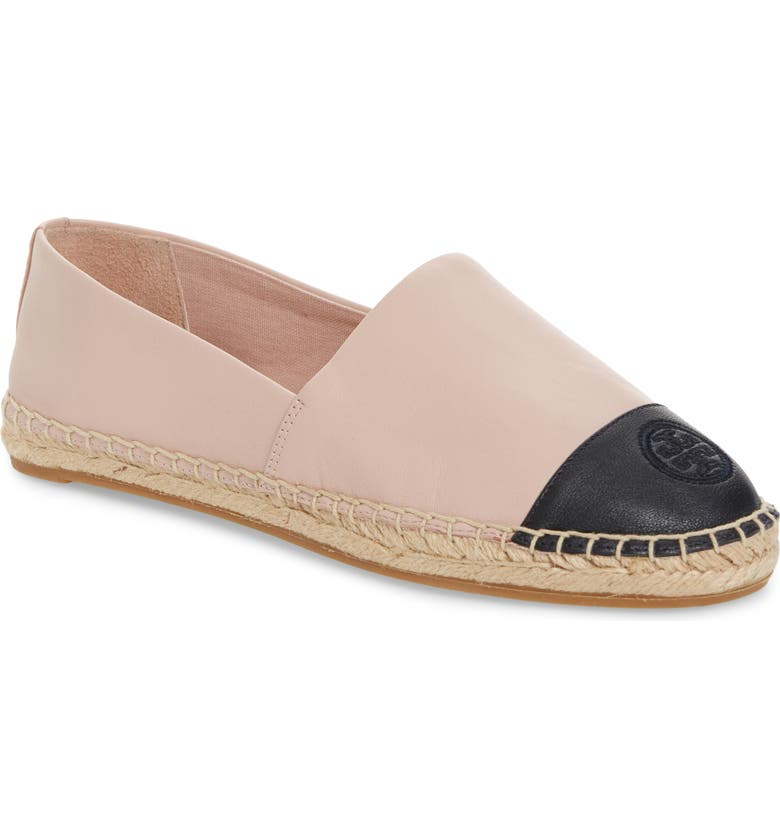 TORY BURCH Colorblock Espadrille Flat, Main, color, SEA SHELL PINK/ PERFECT NAVY