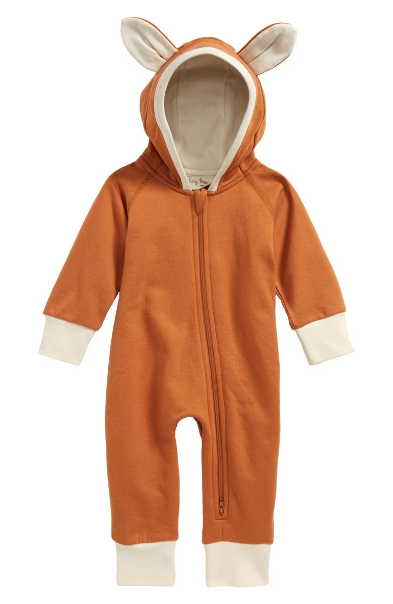 CITY MOUSE Fox Hooded Organic Cotton Romper, Main, color, 200