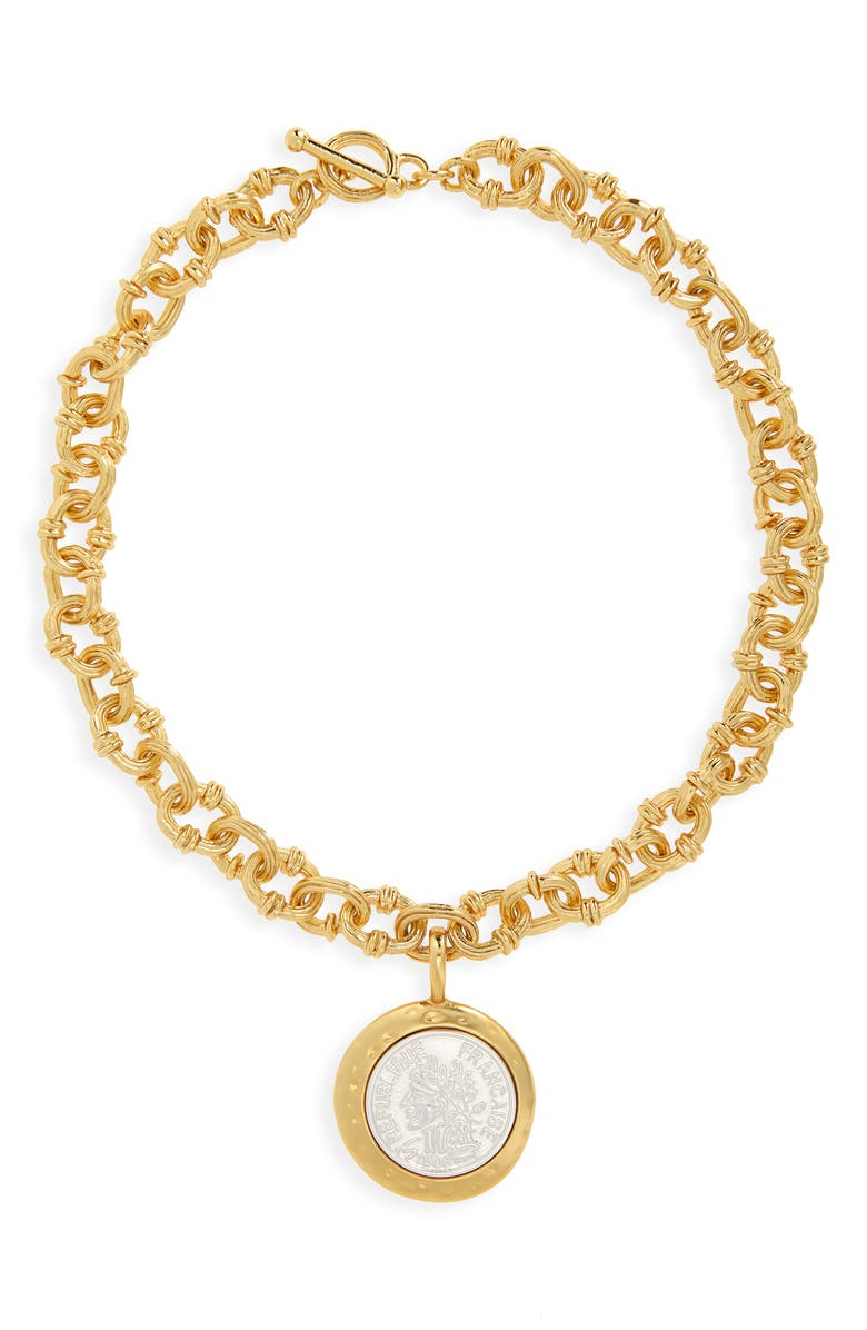 KARINE SULTAN Coin Pendant Chunky Necklace, Main, color, MIXED METALS