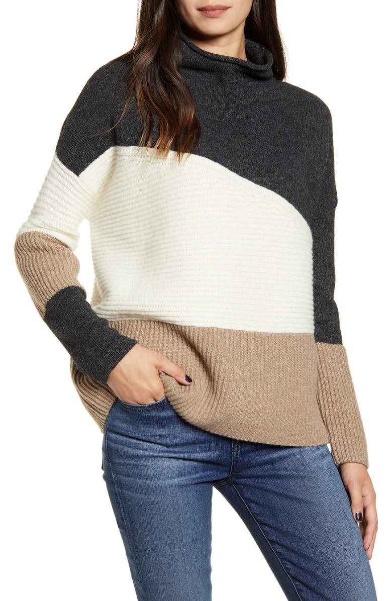 FRENCH CONNECTION Patchwork Funnel Neck Sweater, Main, color, 200