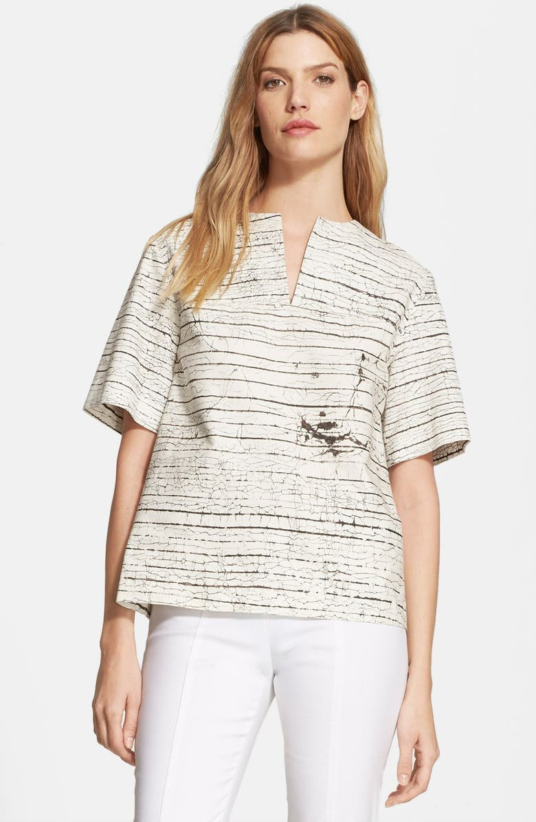 TORY BURCH Piece & Co. and Tory Burch 'Leva' Cotton Top, Main, color, OLIVE/ WHITE
