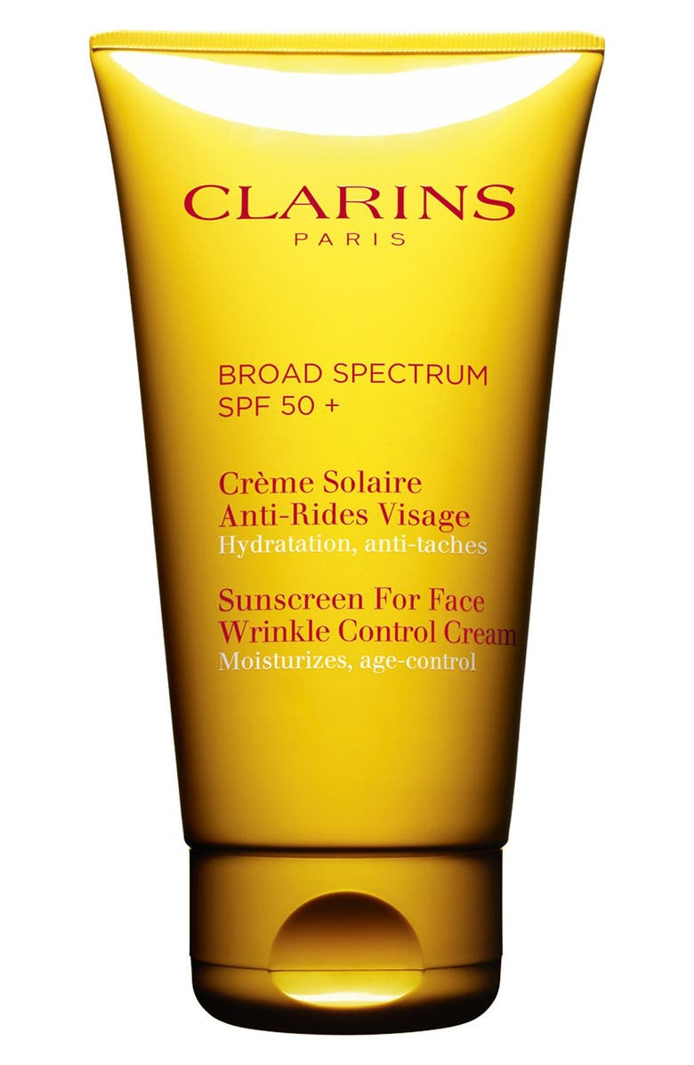 CLARINS Sunscreen for Face Wrinkle Control Cream SPF 50+, Main, color, No Color
