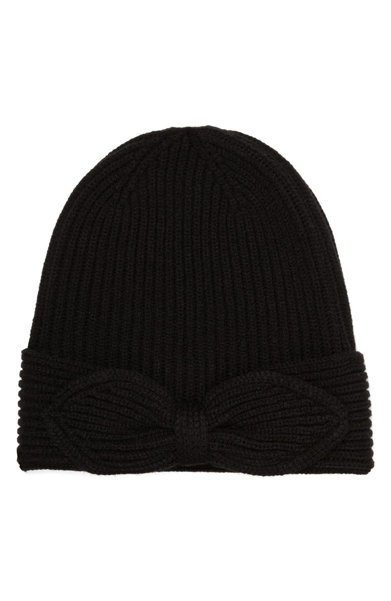 KATE SPADE NEW YORK pointy bow beanie, Main, color, 001