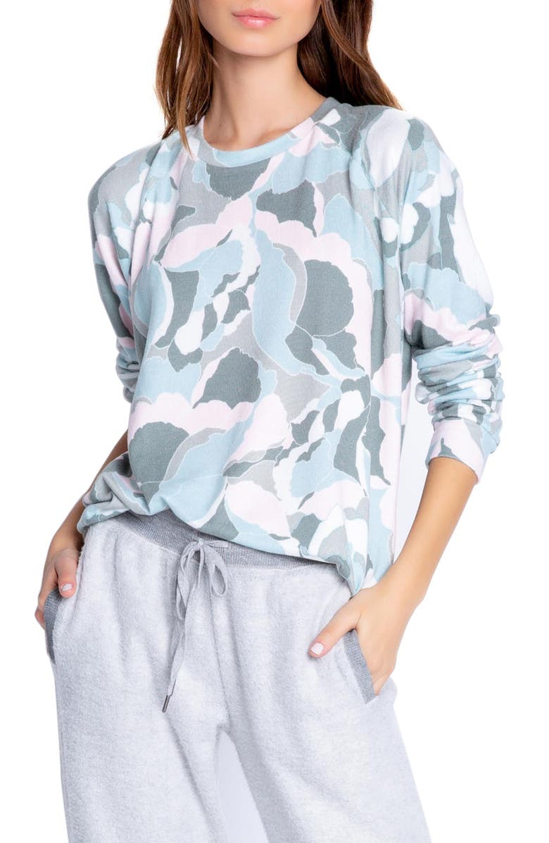 PJ SALVAGE Camo Bloom Jersey Top, Main, color, MULTI