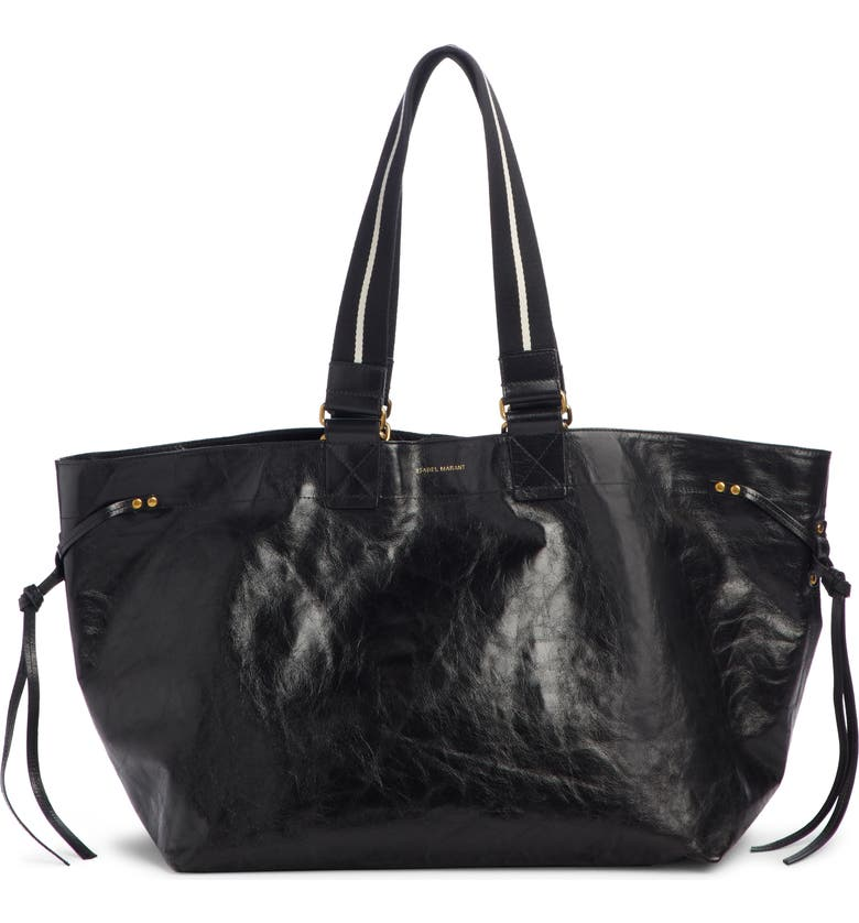 ISABEL MARANT Wardy New Leather Shopper Tote, Main, color, Black