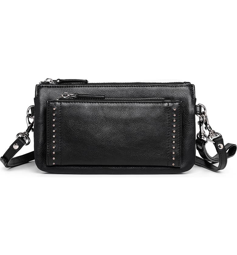OLD TREND Leather Clutch, Main, color, BLACK