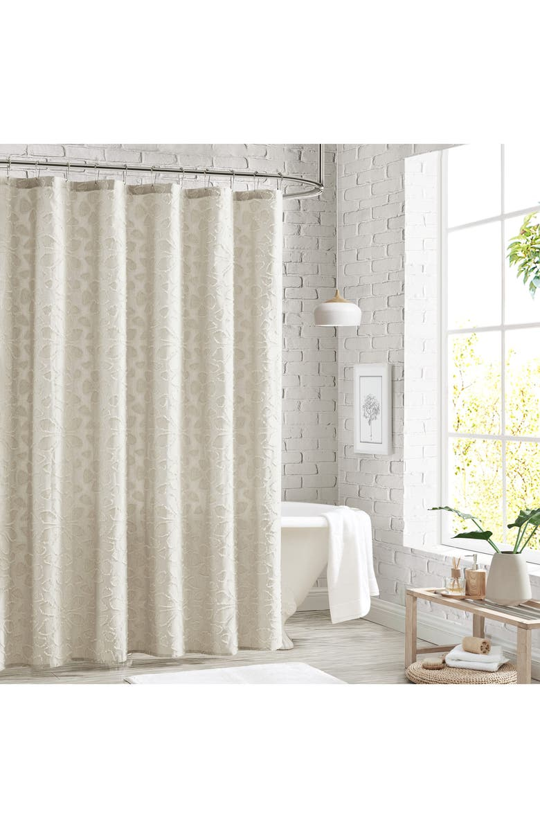 PERI HOME Clipped Floral Shower Curtain, Main, color, NATURAL