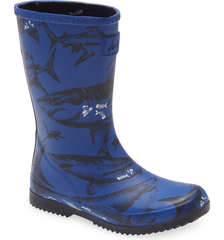 JOULES Roll Up Waterproof Rain Boot, Main, color, BLUE ETCHED SHARKS