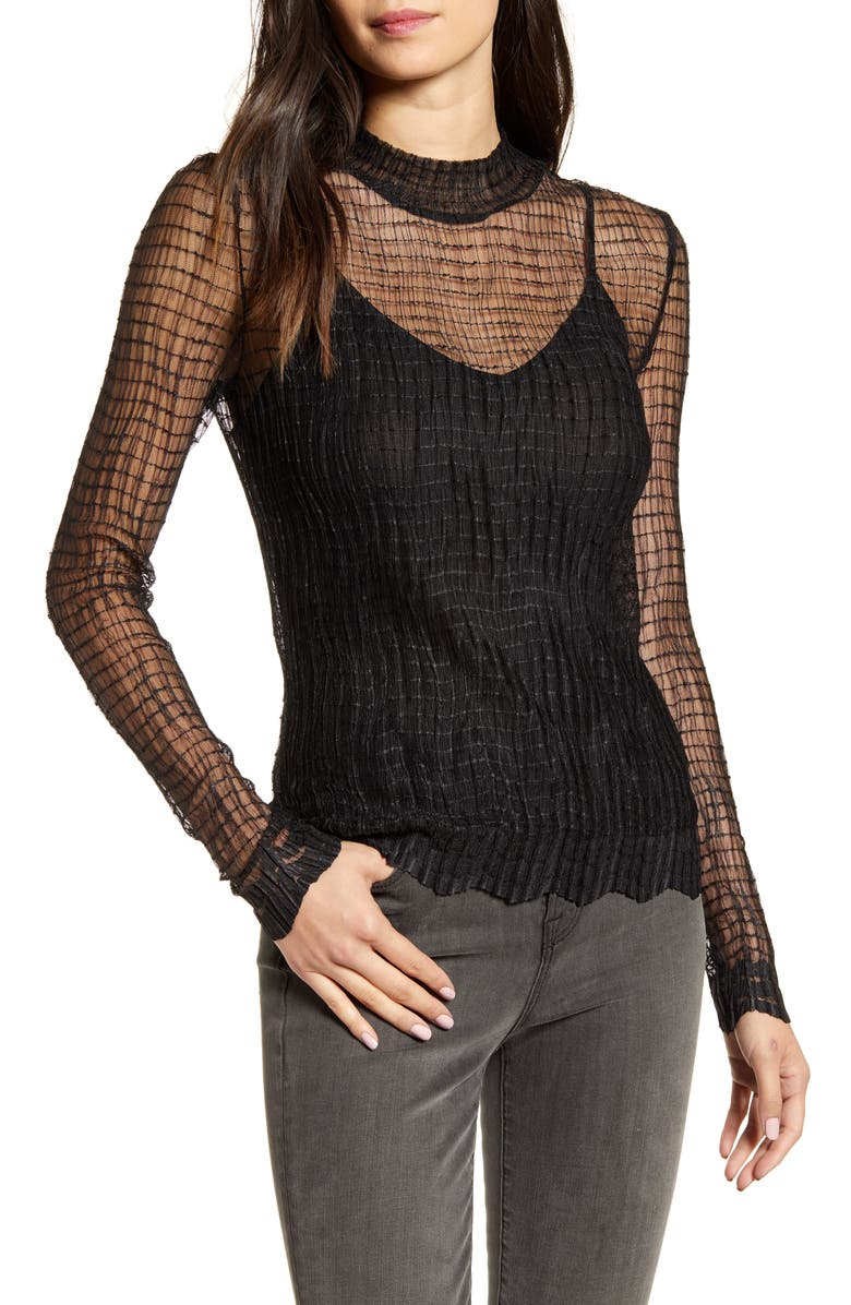 CHELSEA28 Textured Mesh Top, Main, color, 001