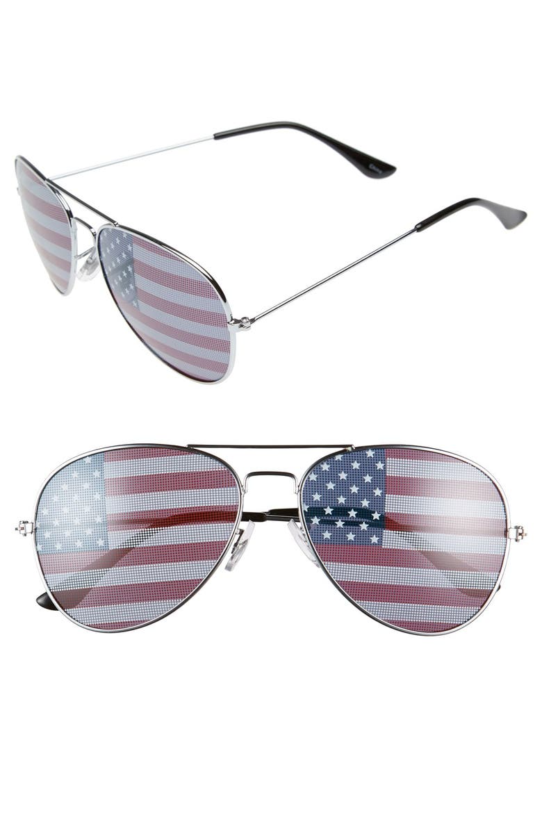 BP. American Flag 60mm Aviator Sunglasses, Main, color, SILVER/ RED/ WHITE