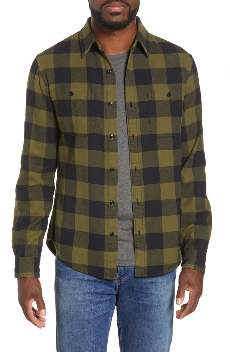 BONOBOS Slim Fit Check Flannel Button-Up Shirt, Main, color, FLANDERS CHECK - PESTO