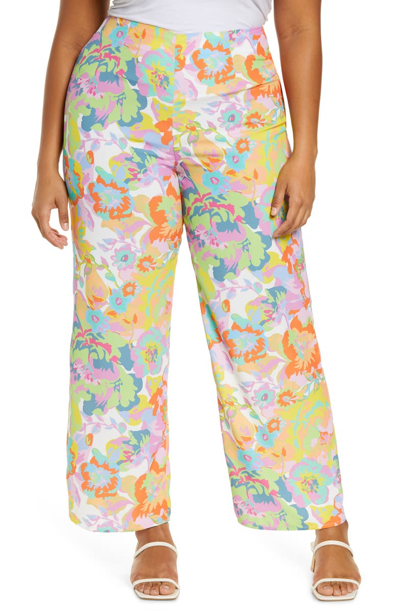 NEVER FULLY DRESSED Freya Floral High Waist Wide Leg Pants, Main, color, MULTI