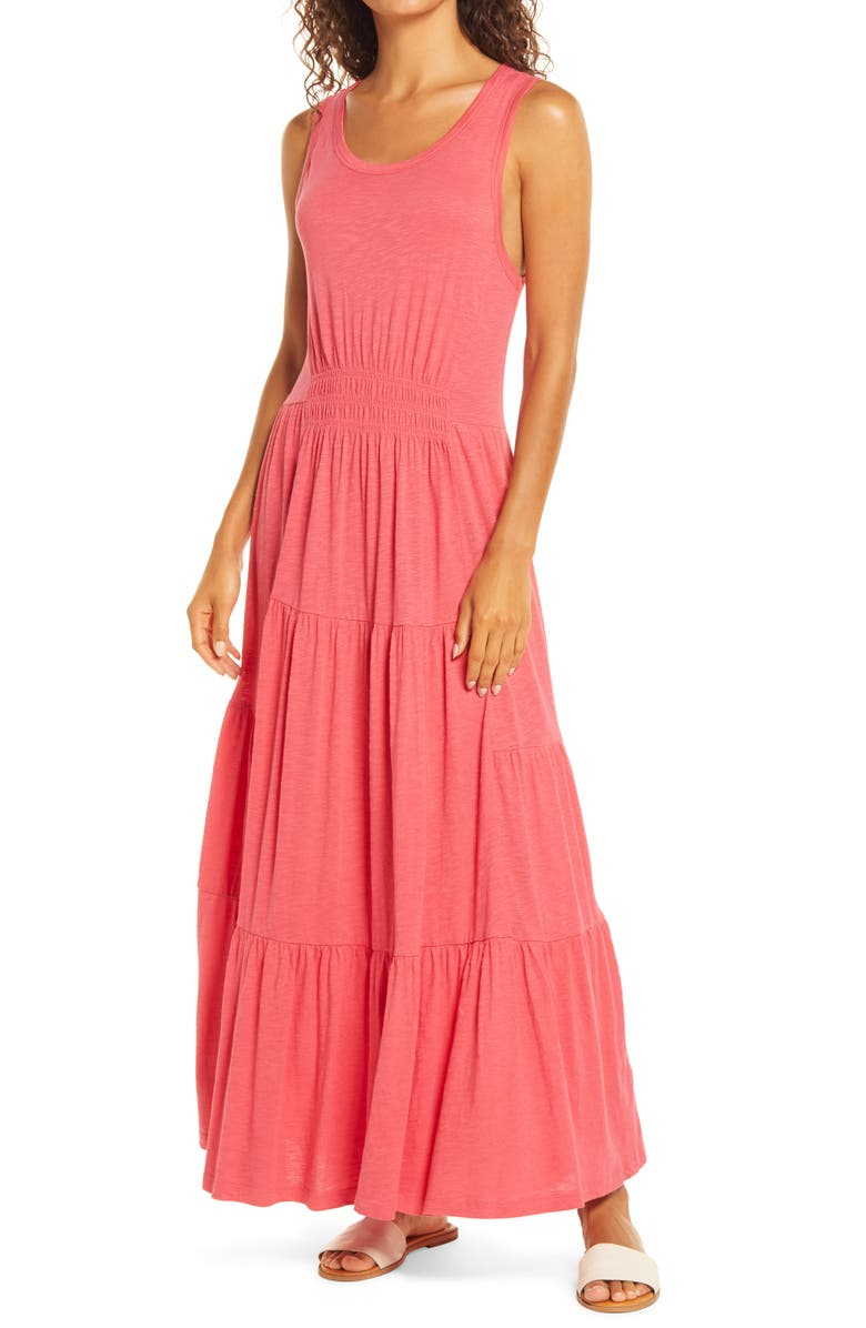 CASLON<SUP>®</SUP> Tiered Smocked Waist Jersey Maxi Dress, Main, color, RED CHATEAUX