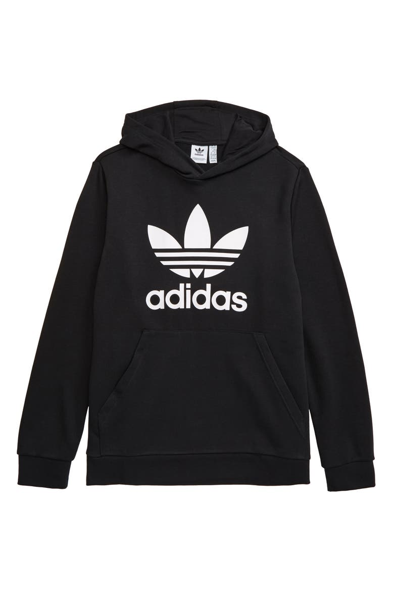 ADIDAS ORIGINALS Trefoil Hoodie, Main, color, BLACK/ WHITE