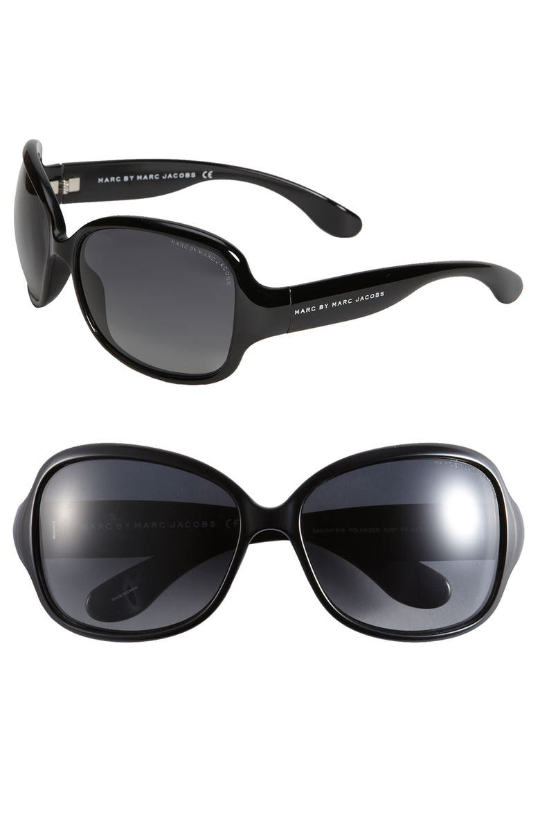 MARC BY MARC JACOBS Polarized Oversized Sunglasses, Main, color, 001