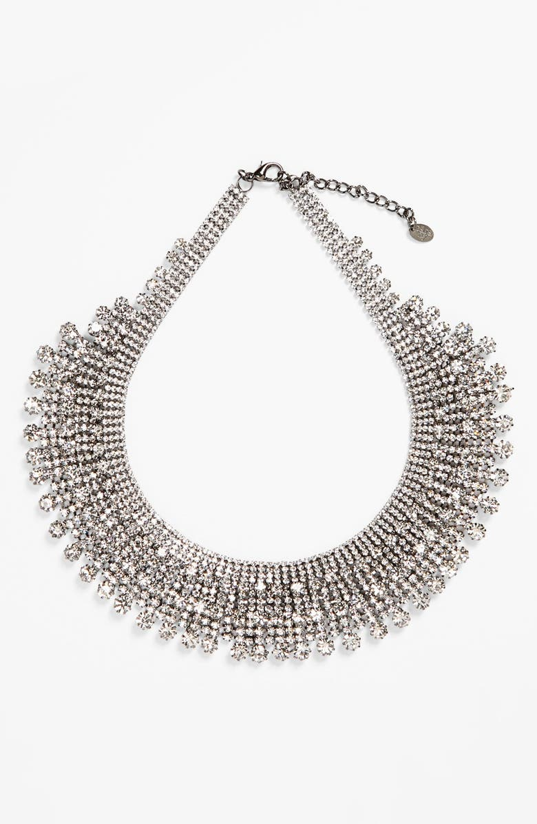 CARA Tiered Collar Necklace, Main, color, CLEAR/ HEMATITE