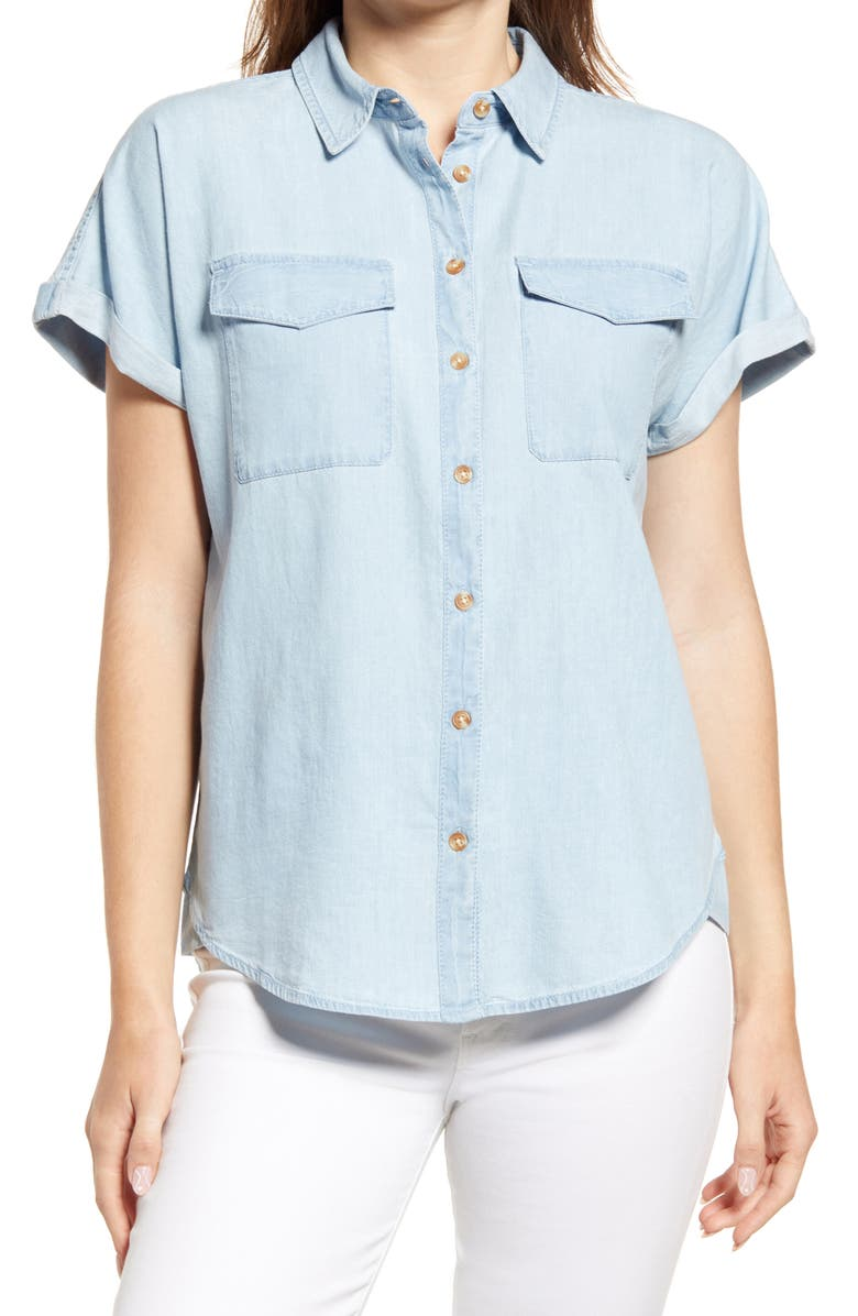 CASLON<SUP>®</SUP> Utility Button-Up Shirt, Main, color, CHAMBRAY