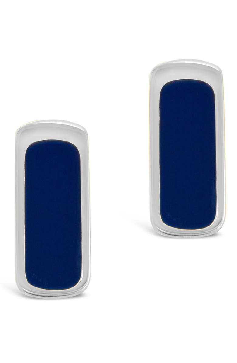 STERLING FOREVER Rhodium Plated Blue Enamel Bar Studs, Main, color, SILVER