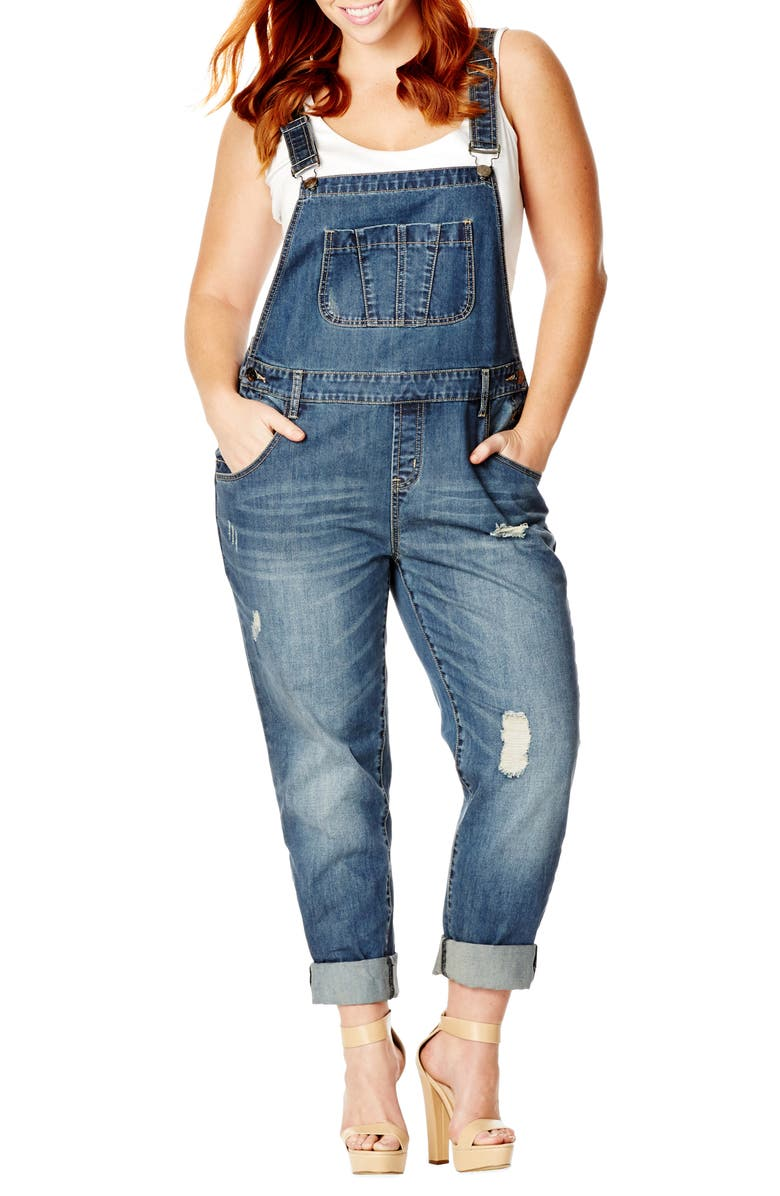 CITY CHIC 'Over It All' Distressed Denim Overalls, Main, color, 450