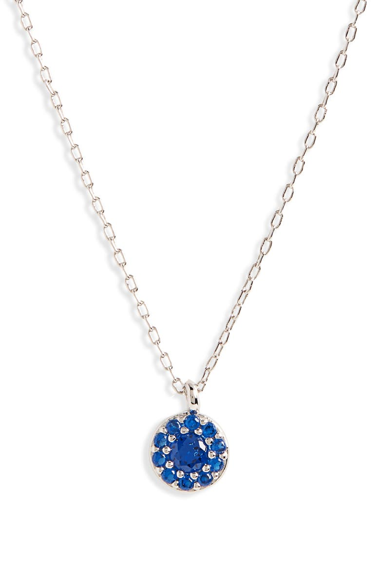 KATE SPADE NEW YORK something sparkly pavé pendant necklace, Main, color, SAPPHIRE